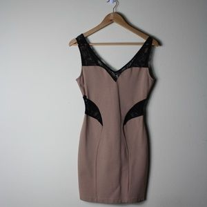 Mystic Jersey Beige Dress with Lace.